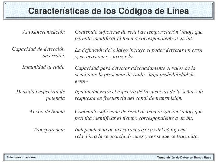 Características de los Códigos de Línea