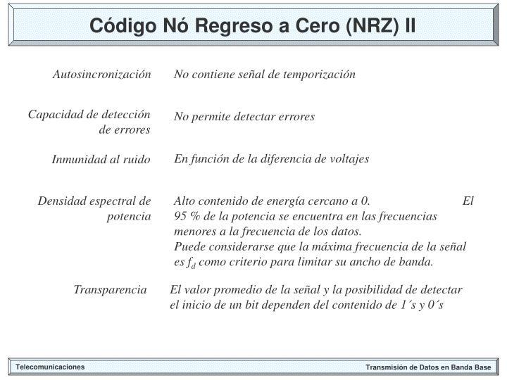Código Nó Regreso a Cero (NRZ) II