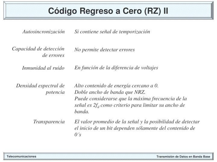 Código Regreso a Cero (RZ) II