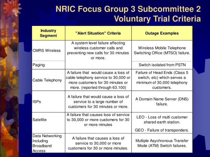 NRIC Focus Group 3 Subcommittee 2