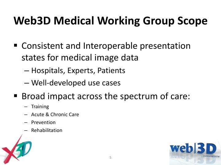Web3D Medical Working Group Scope