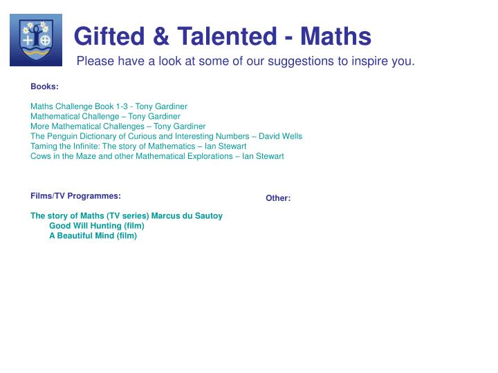 Gifted & Talented - Maths