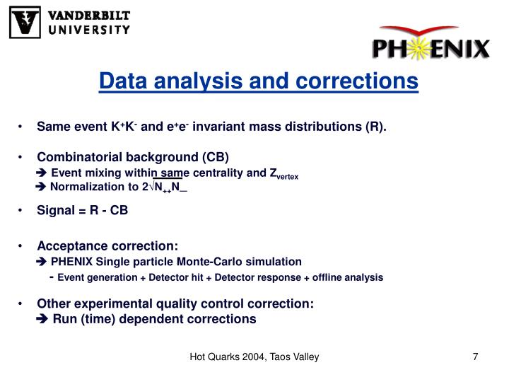 Data analysis and corrections