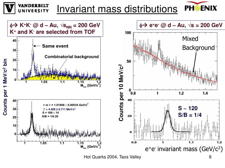 Invariant mass distributions