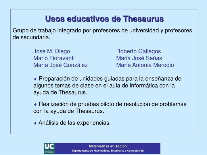 Usos educativos de Thesaurus