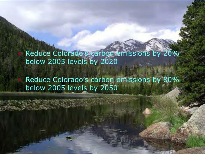 Reduce Colorado's carbon emissions by 20% below 2005 levels by 2020