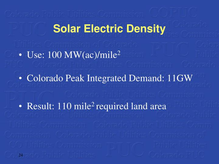 Solar Electric Density