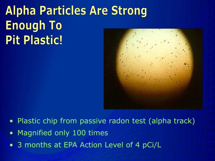 Plastic chip from passive radon test (alpha track)