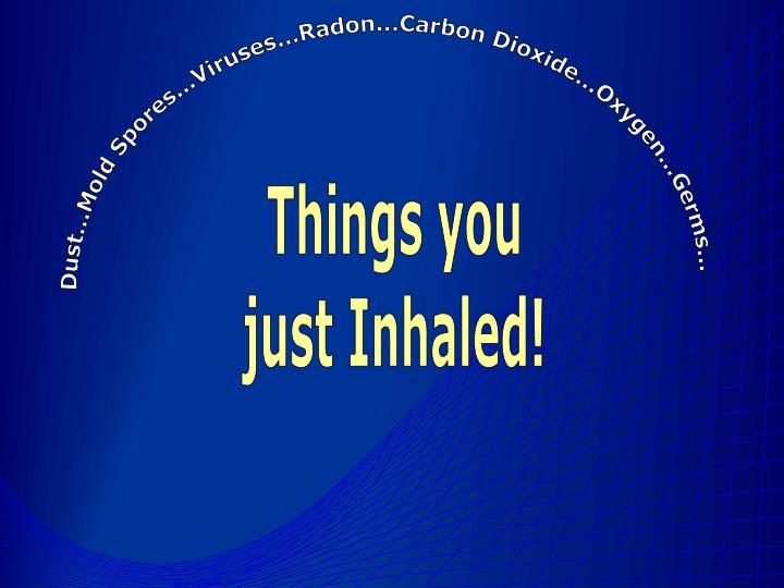 Dust...Mold Spores...Viruses...Radon...Carbon Dioxide...Oxygen...Germs...