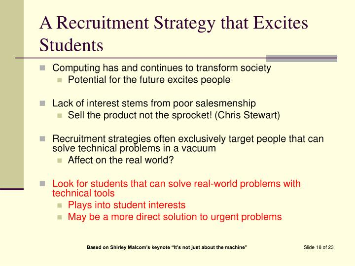 A Recruitment Strategy that Excites Students
