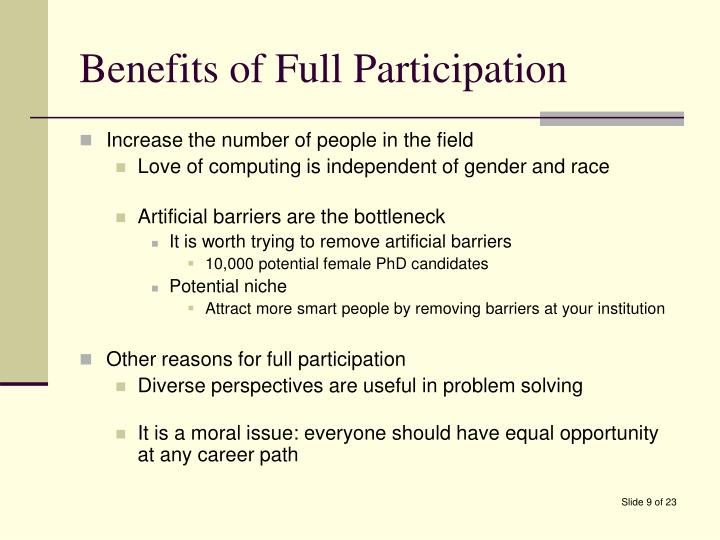 Benefits of Full Participation