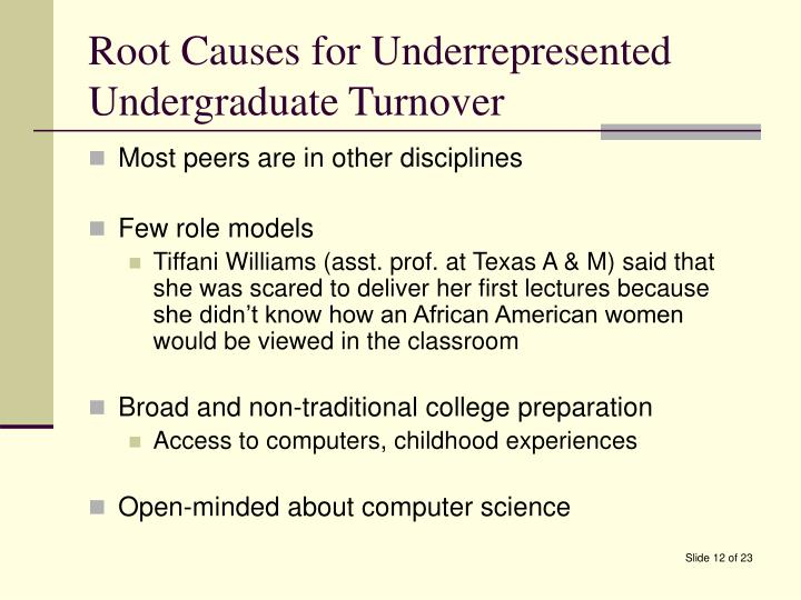 Root Causes for Underrepresented Undergraduate Turnover