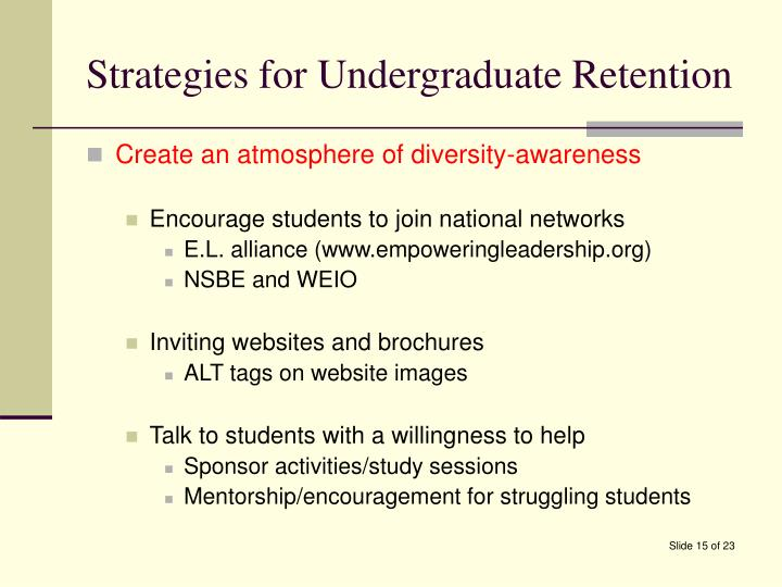 Strategies for Undergraduate Retention