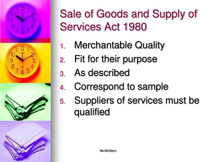 Sale of Goods and Supply of Services Act 1980
