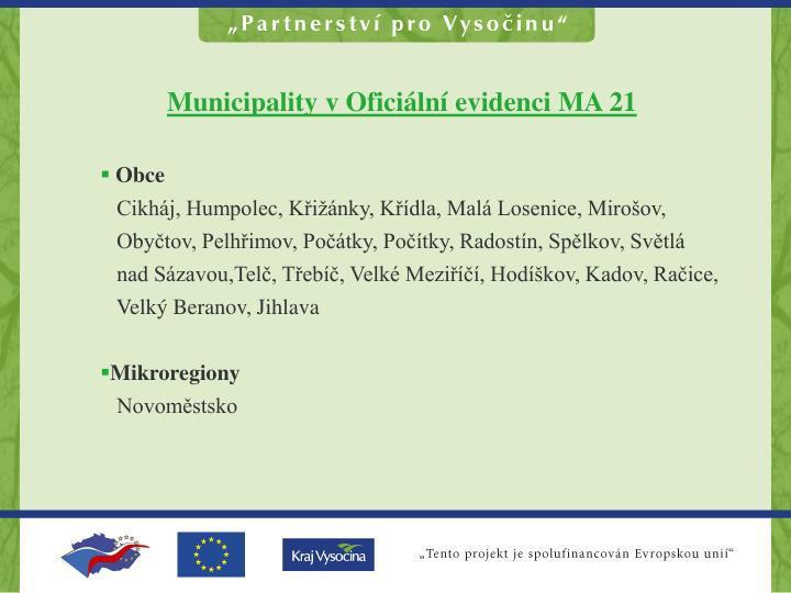 Municipality v Oficiální evidenci MA 21