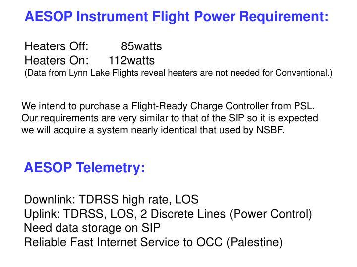 AESOP Instrument Flight Power Requirement: