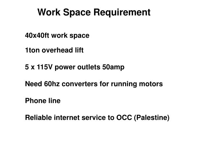 Work Space Requirement