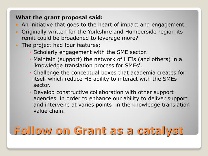 What the grant proposal said: