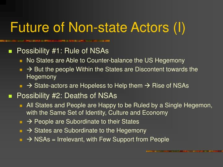 Future of Non-state Actors (I)