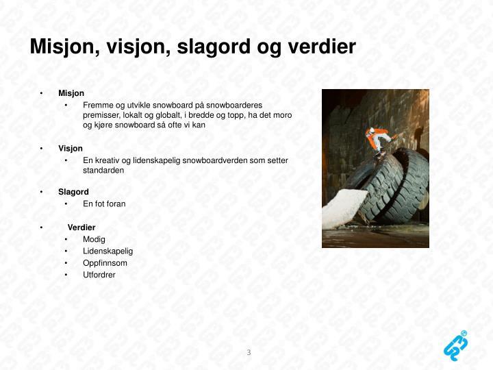 Misjon, visjon, slagord og verdier
