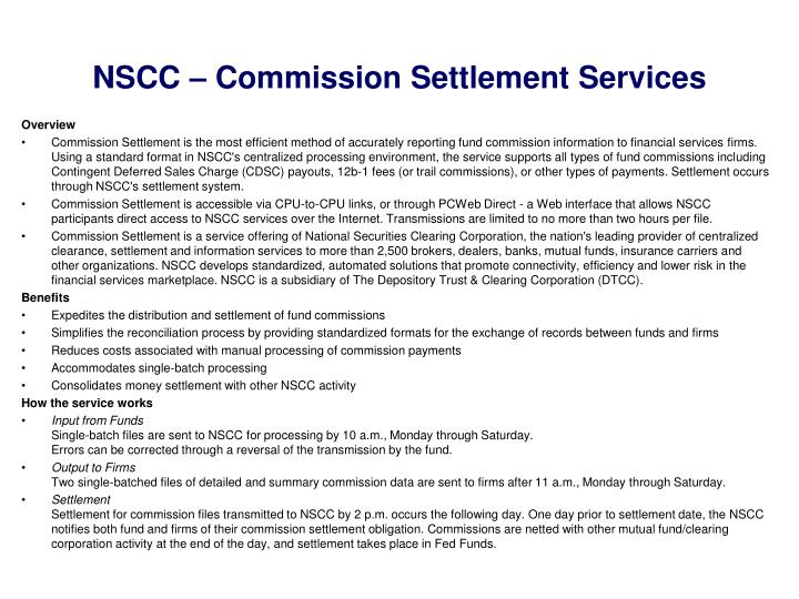 NSCC – Commission Settlement Services