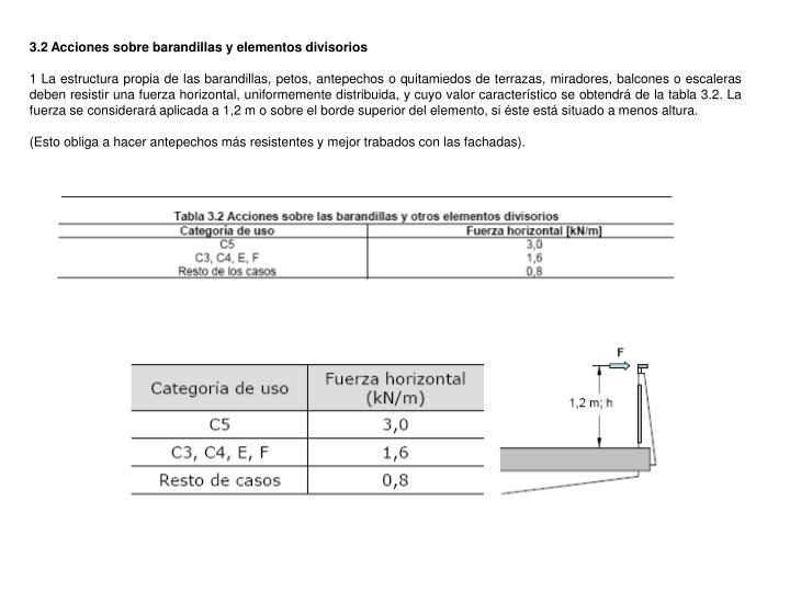 3.2 Acciones sobre barandillas y elementos divisorios