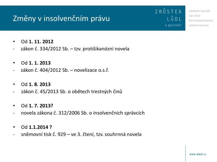 Změny v insolvenčním právu