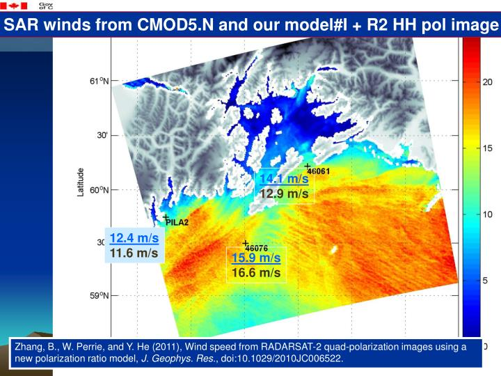 SAR winds from CMOD5.N and our model#I + R2