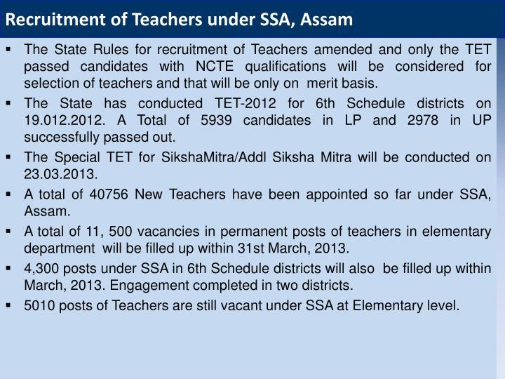 Recruitment of Teachers under SSA, Assam