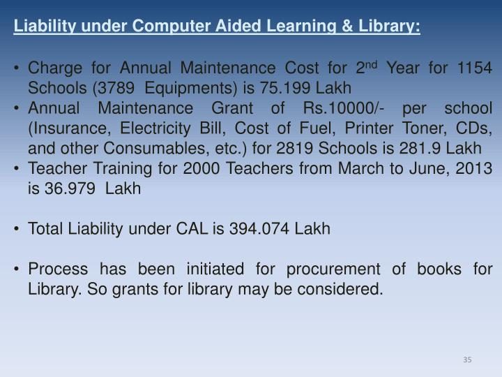 Liability under Computer Aided Learning & Library: