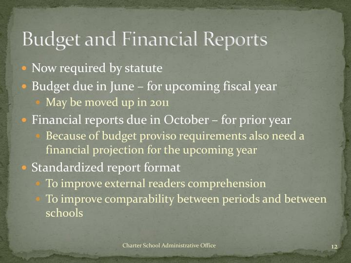 Budget and Financial Reports