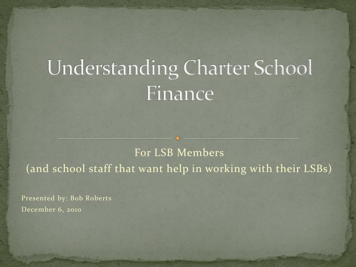 Understanding charter school finance