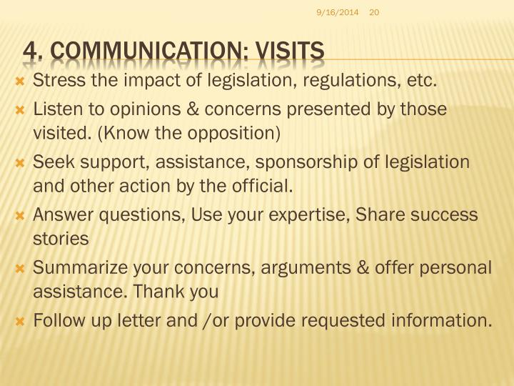 4. Communication: Visits