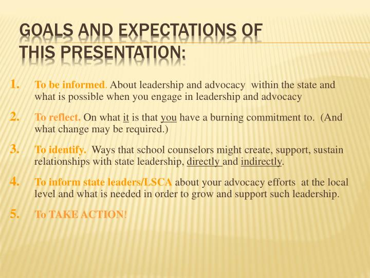 Goals and expectations of this presentation