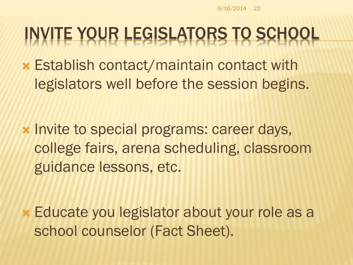 Invite your Legislators to School