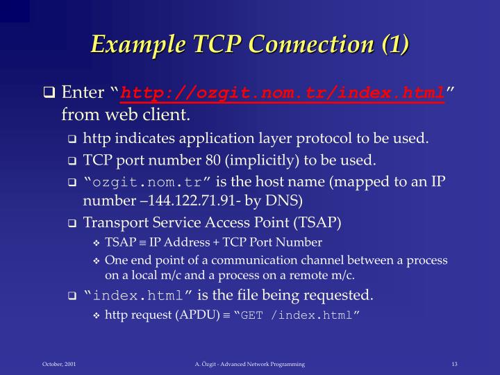 Example TCP Connection (1)