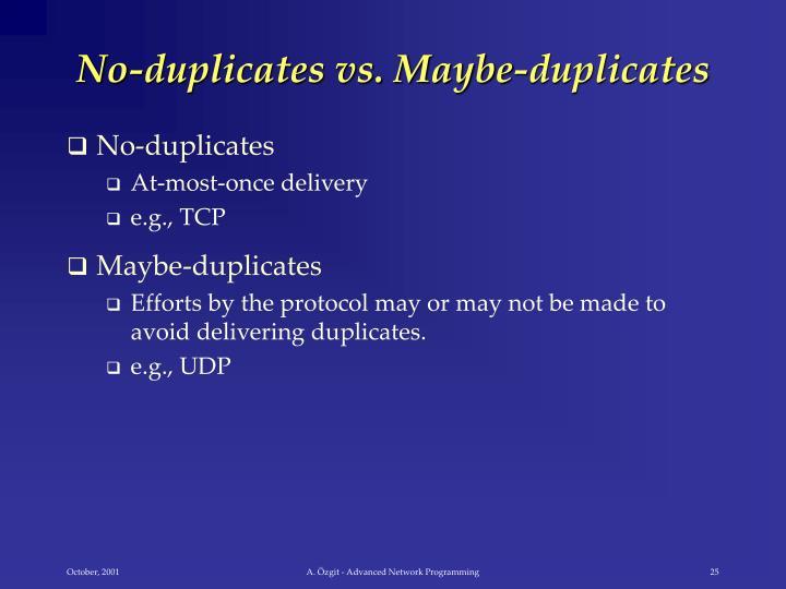 No-duplicates vs. Maybe-duplicates