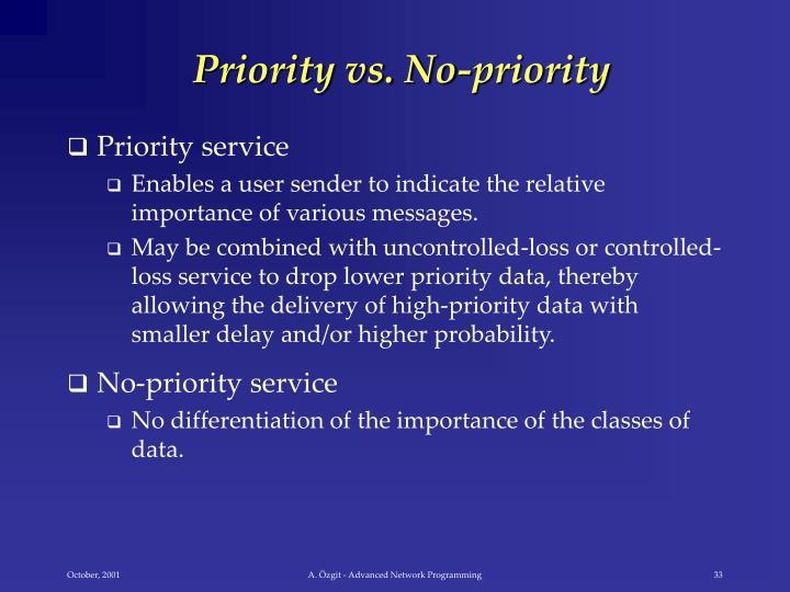 Priority vs. No-priority
