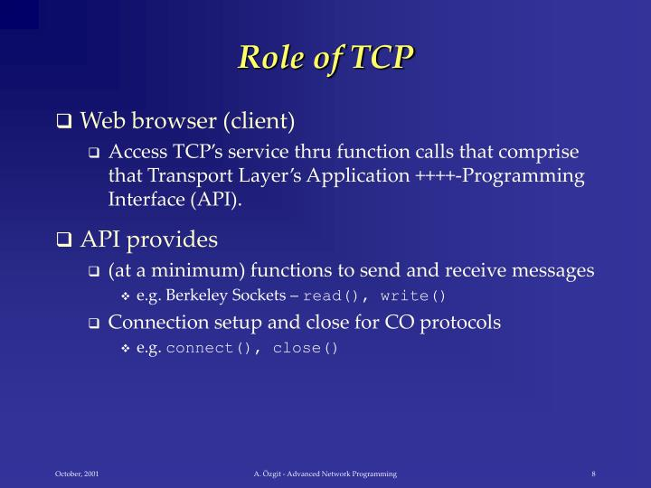 Role of TCP