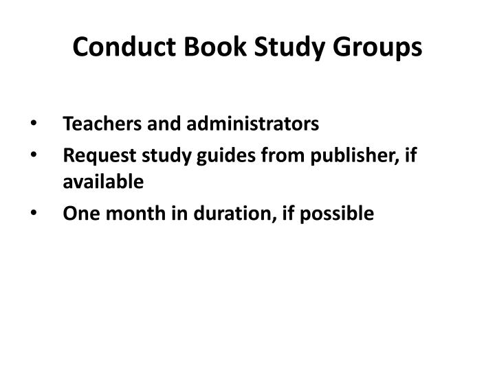 Conduct Book Study Groups