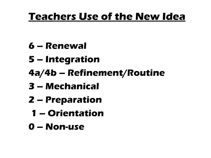 Teachers Use of the New Idea