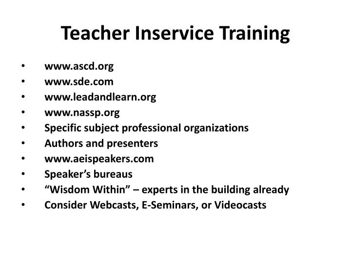 Teacher Inservice Training