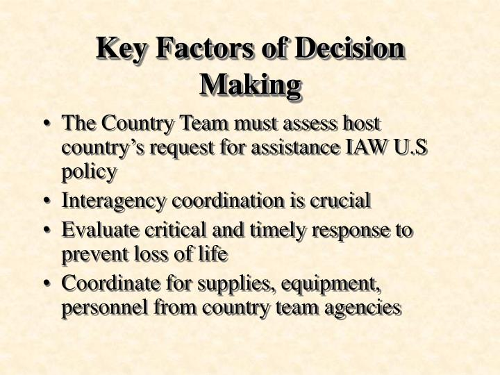 Key Factors of Decision Making