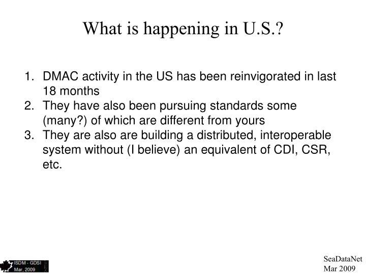 What is happening in U.S.?
