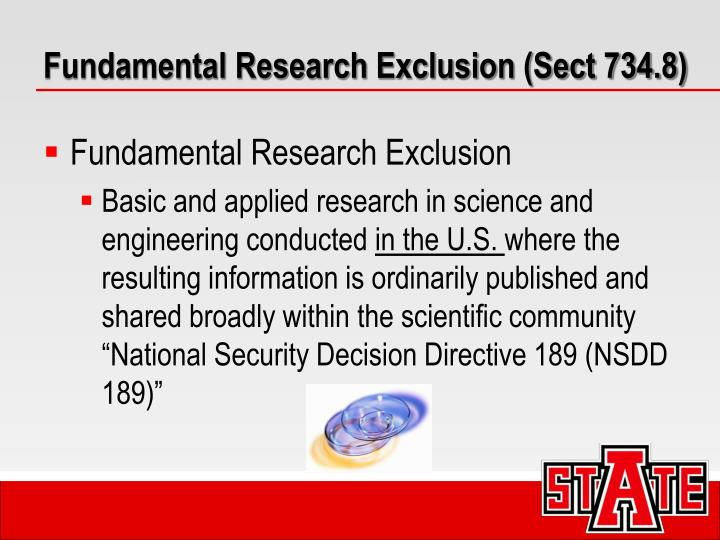 Fundamental Research Exclusion (Sect 734.8)