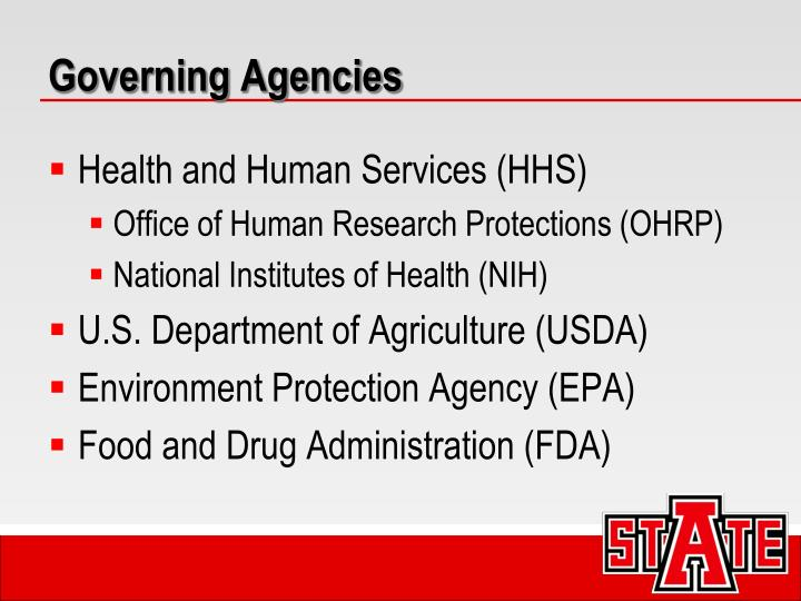 Governing Agencies