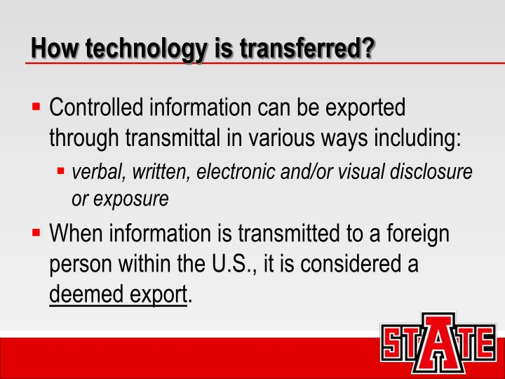 How technology is transferred?