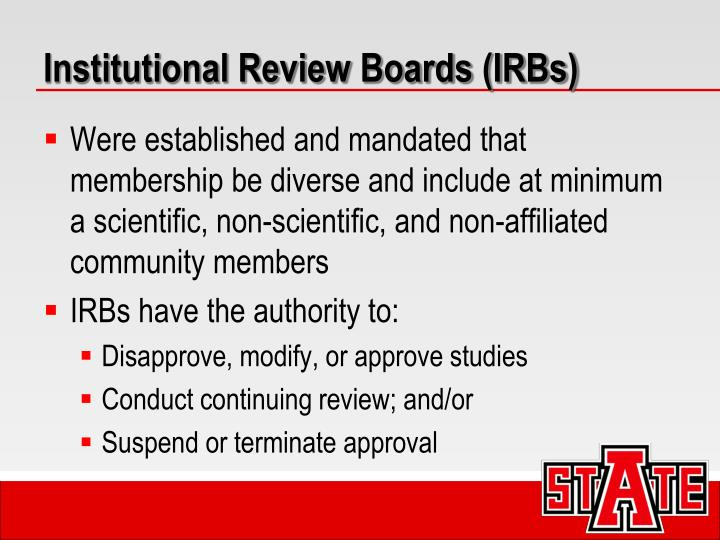 Institutional Review Boards (IRBs)