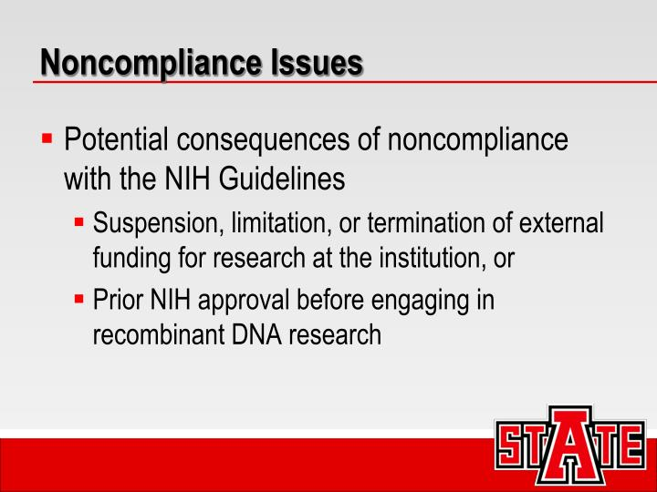 Noncompliance Issues