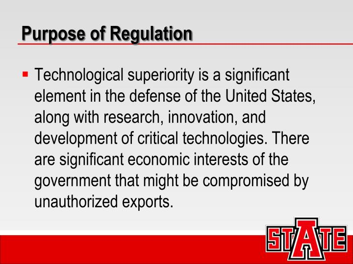 Purpose of Regulation